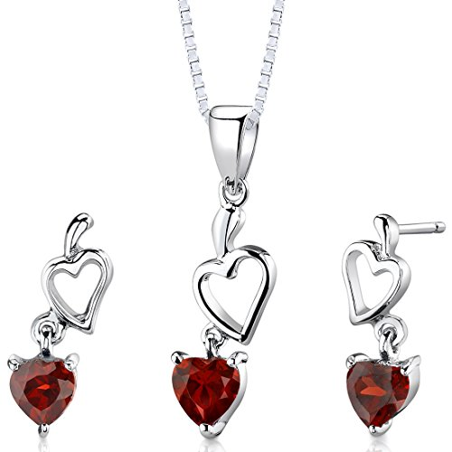 Garnet Pendant Earrings Necklace in Sterling Silver Rhodium Nickel Finish 2.00 Carats -
