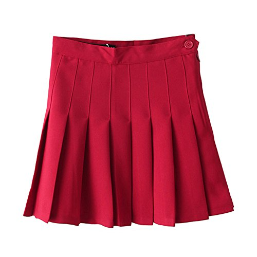 Minuoyi Women Sports High Waist Underpants Tennis Badminton Cheerleader Pleated Skirt (Tag Size S, Claret) by Minuoyi (Image #1)
