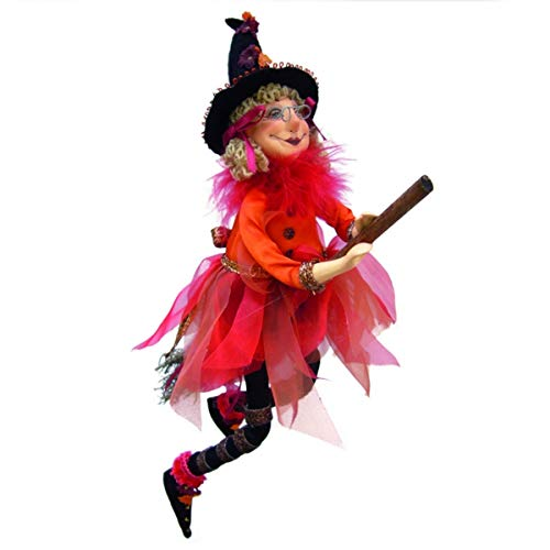 Witches of Pendle - Jazz Witch Flying (Orange) 32cm (Kitchen Witch Hanging)