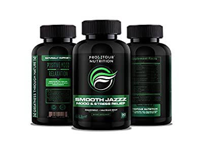 SMOOTH JAZZZ Anxiety Relief and Stress Support Supplement - Herbal Blend Keeps Busy Minds Relaxed, Focused & Positive - Promotes Serotonin Increase Magnesium, Chamomile, C Vitamins, B Vitamins 90 tabs