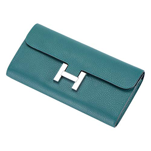- LUCKYSGY Women's Long Togo Leather Wallet Multi Card Case Holder Dinner Clutch Bag(Green)