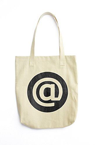 Email icon white on black for signature letterhead resume printed Tote bag