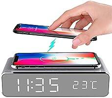 Mellion LEDスマート セイコークロック 目覚まし時計 温度計時計 タイム温度ディスプレイワイヤレス充電器充電パッドドック、Qi認定、iPhone 11、11 Pro Max、XR、Xs Max、XS、X、8、8...