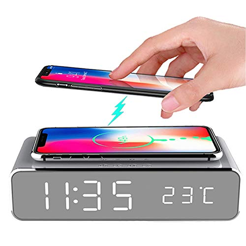 Hopkog LED Smart Alarm Clock Time Temperature Display Wireless Charging Pad Dock, 10W Qi-Certified for iPhone12 11, 11 Pro Max, XR, Xs Max, XS, X, 8, 8 Plus, Galaxy S10 S9 S8, Note 10 Note 9 and More