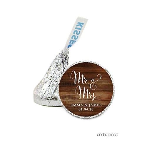 Andaz Press Personalized Chocolate Drop Labels Stickers, Wedding, Mr. & Mrs. Rustic Wood, 216-Pack, Custom Name, for Hershey's Kisses Party Favors, Gifts, Decorations