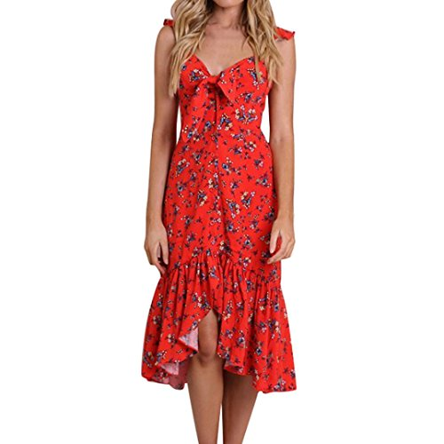- Women Dress Floral Bow Tie Ruffles Long Dress, CSSD Summer Sexy V-neck Sleeveless Hem Cami Evening Party Camisole Dress (L, Red)