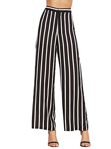 SweatyRocks Women's Striped High Waisted Lounge Wide Leg Palazzo Pants Capris (Large, Black_White)