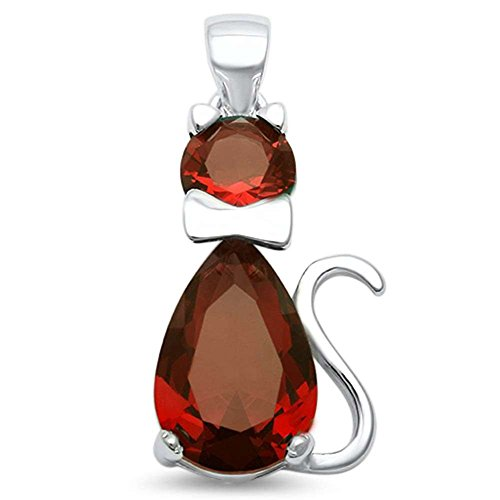 Teardrop Cat Pendant Charm Pear Simulated Deep Red Garnet Round CZ 925 Sterling Silver