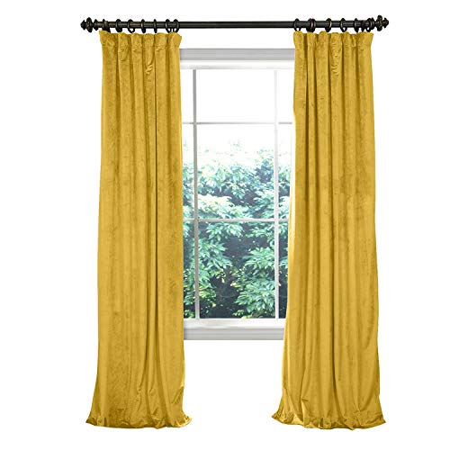 Velvet Biscotti - COFTY Super Soft Solid Matt Luxury Velvet Curtain Drapes Yellow 50Wx84L Inch (1 Panel)-Flat Hooks Heading Theater| Bedroom| Living Room| Hotel | Classroom