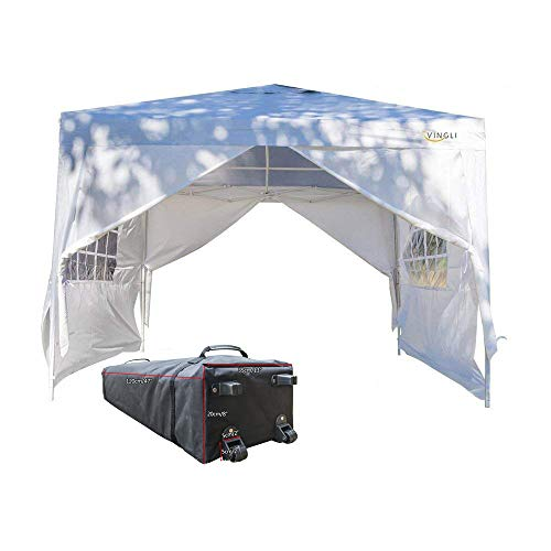 VINGLI 10'x10' EZ Pop Up Canopy Tent with 4 Removable Sidewalls Panels, Folding Instant Wedding Party Pavilion Gazebo W/Portable Rolling Carrying Bag,White (Removable Panel)