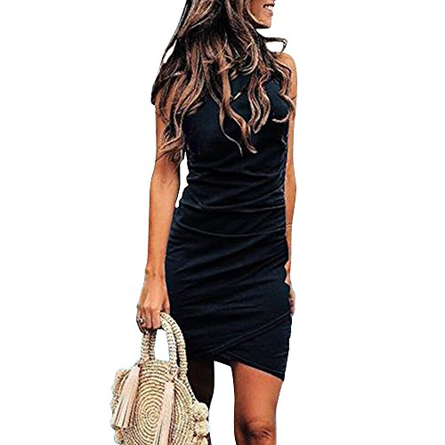 Cinched Tank Dress - OE-LETG Bodycon Summer Dress for Women Ruched Mini Sleeveless Sheath Dresses Black L