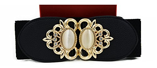 LVGE Women's Fashion Rhinestone Vintage Wide Elastic Stretch Waist Belt Waistband