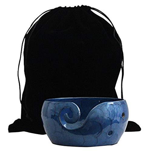 blue metal yarn bowl