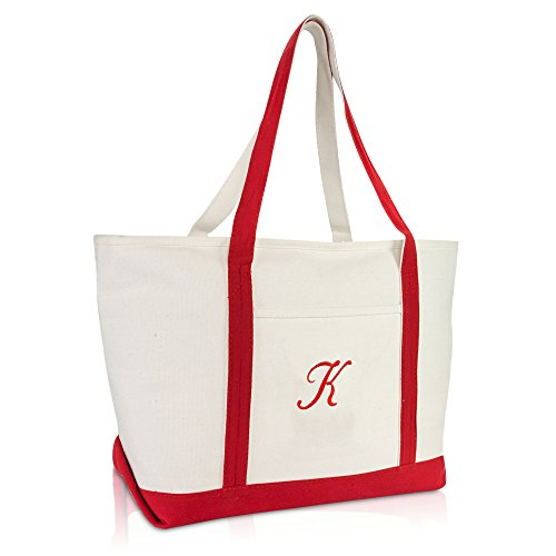 DALIX Premium Canvas Tote Bags Red Shoulder Bag Personalized Gifts ()