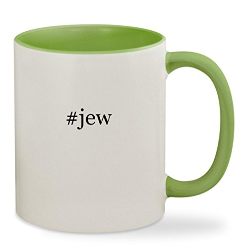 [#jew - 11oz Hashtag Colored Inside & Handle Sturdy Ceramic Coffee Cup Mug, Light Green] (Hasidic Jew Hat Costume)
