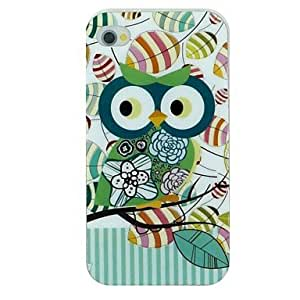 YXF Green Printed Owl on The Tree Branch And Vertical Stripe Pattern TPU Material Soft Back Cover Case for iPhone 4/4S