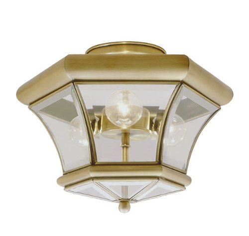 Livex Lighting 4083-01 Flush Mount with Clear Beveled Glass Shades, Antique Brass by Livex Lighting