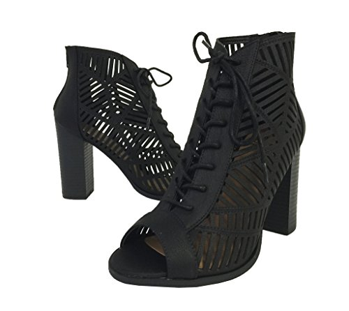 Booties Ankle Heel Cutout Block High Womens Lace Toe MESSAGE Peep Black Up Nubuck Leatherette Heel vBSPRwA