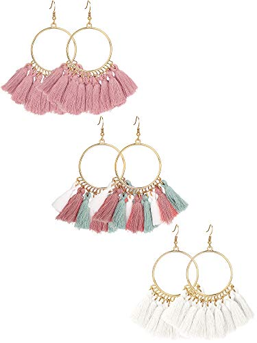 Tassel Shaped (Gejoy Tassel Hoop Earrings Fan-shaped Drop Earrings Dangle Eardrop for Women Girls Party Bohemia Dress Accessory, 3 Pairs (Set 7))