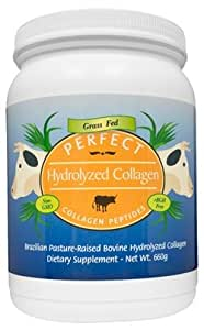 Perfect Hydrolyzed Collagen Peptides Powder - Made From 100% Brazilian Pasture Raised (Grass-Fed) Cows. Large 660 Gram Container of Collagen Hydrolysate, Highest Bioavailability