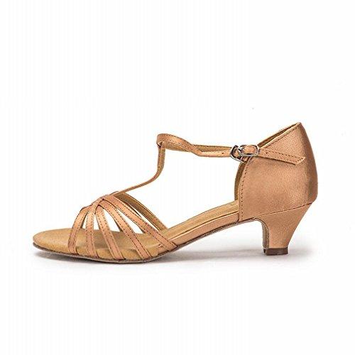 BYLE Sandalias de Cuero Tobillo Modern Jazz Samba Zapatos de Baile Zapatos de Baile Latino Hembra Adulta con Zapatos de Baile de Satén Suave de Oro Inferior 4.1CM Onecolor