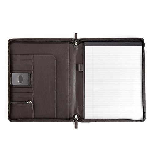 Classic Zippered Padfolio - Full Grain Leather - Chocolate Brown (brown) by Leatherology