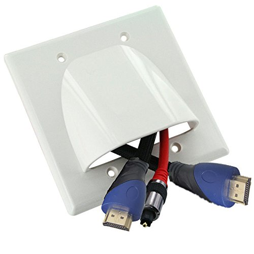 NDA-Electronics Double Gang Internal Management Convex Audio Video Cable Pass Through Nose Plate White