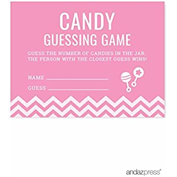 Andaz Press Pink Chevron Girl Baby Shower Collection, Games, Activities,  Decorations, Candy