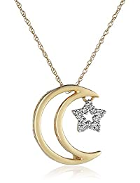 14k Yellow Gold Moon and Star Diamond Pendant Necklace, 18""