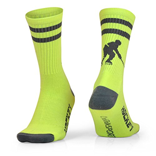 ChalkTalkSPORTS Athletic Half Cushioned Crew Socks | Hockey Player Design | Neon/Gray