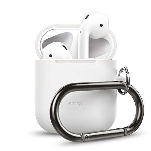 elago AirPods Hang Case [White] - [Extra Protection] [Hassle Free][Added Carabiner] - for AirPods Case