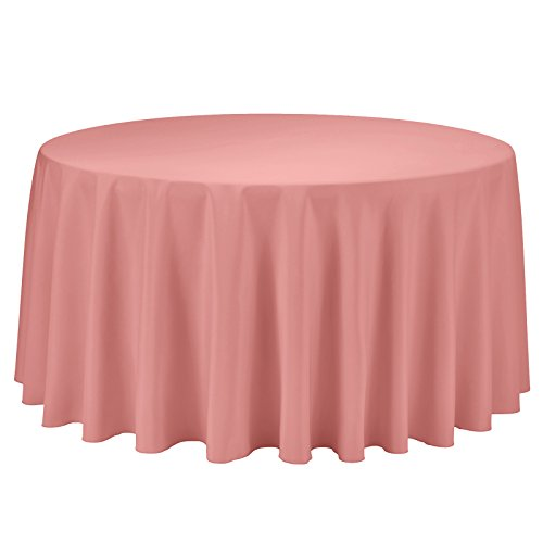 VEEYOO Round Tablecloth 100% Polyester Circular Bridal Shower Table Cloth - Solid Soft Dinner Table Cover for Wedding Party Restaurant (Coral, 120 inch)]()