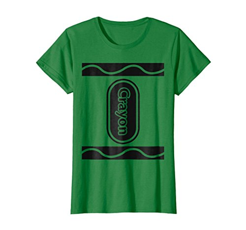 Womens Green Crayon Box Group Costume Halloween T-Shirt Large Kelly Green -