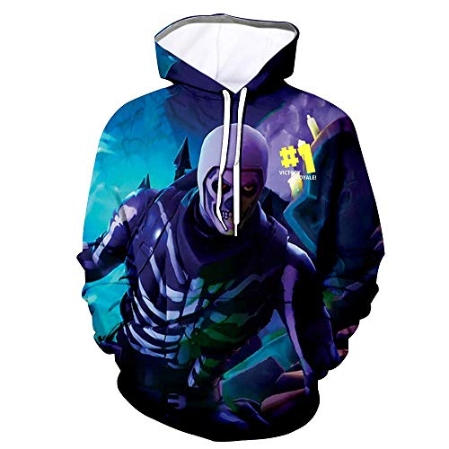 Youth 3D Printed Hooide Battle Royale Floss Sweatshirt with Pocket for Ninja Boys Tnite Skull Kids-XS(8-9)