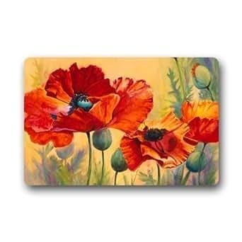 Lovelife Poppy flores arte pintura Custom funda antideslizante interior al aire libre Felpudo (lavable a máquina, 23,6(L) X 15,7(W) pulgada