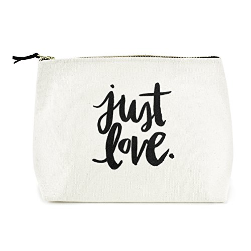 - Canvas Makeup Bag with Quote and Brass Zip, Extra Large (Natural - Just Love)