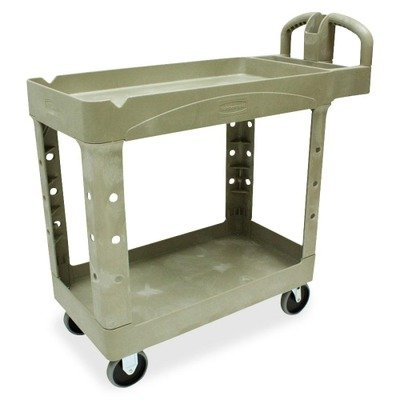Rubbermaid Computer Carts - Heavy-Duty Utility Cart, 2-Shelf, 17-7/8w x 39-1/4d x 33-1/4h, Beige - 450088BG