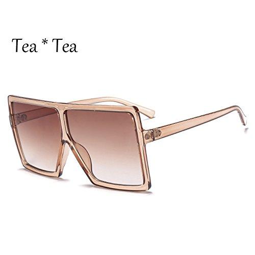 Grande De Tea Unas De Plata Gafas Mujer Gafas Negro Sol Solar Square C5 Bastidor TIANLIANG04 Protección Tea C6 Enormes Sol wRB55v