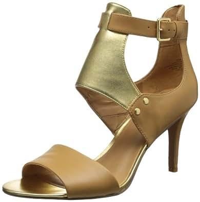 Nine West Women's Izzywizzy Dress Sandal,Natural/Gold Leather,7 M US