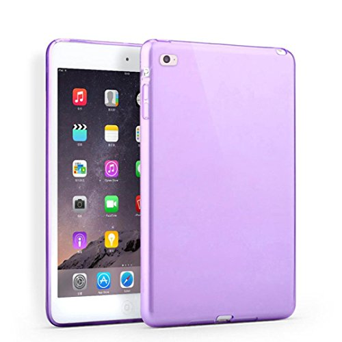 Price comparison product image Feite New Clear TPU Skin Gel Silicone Case Cover for iPad mini 4 (Purple)