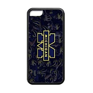 meilinF000Generic Custom Extraordinary Best Design NCAA University of Michigan Wolverines Blue and Yellow Team Logo Plastic and TPU Black and White Case Cover for iPhone5CmeilinF000