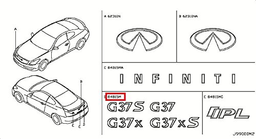 Infiniti Genuine Emblem-Trunk Lid- G37S 84894-JL60A Q60/G (G37s Coupe)