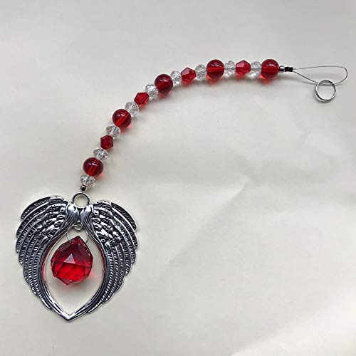 Red Crystal Pendant | Angel Wings/Suncatcher/Prism | Hanging Crystals 1pcs Crystal Birthstone Angel Pendant