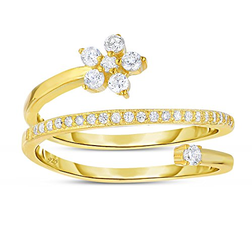 Sterling Silver Delicate Spiral Wrap Ring Flower Design Gold Finish with Cubic Zirconia - Size 8