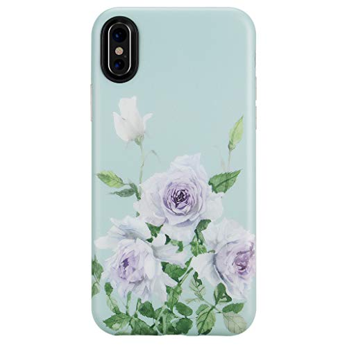 GOLINK Case for iPhone X Case/iPhone Xs Case,Matte Finish Floral Series Slim-Fit Ultra-Thin Anti-Scratch Shock Proof Dust Proof Anti-Finger Print TPU Gel Case for iPhone X - Purple Rose - Floral Finish