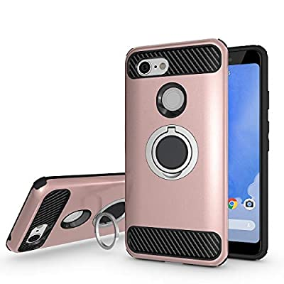 Newseego Compatible with Google Pixel 3 Case, Armor Dual Layer 2 in 1 and Finger Ring Holder Kickstand Fit Magnetic Car Mount for Google Pixel 3-Rose Gold: Electronics
