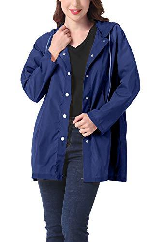 Pluie Bleu En vent Veste Coupe Femmes De Imperméable Avec Manteau Plein Air Capuche qEB7nA