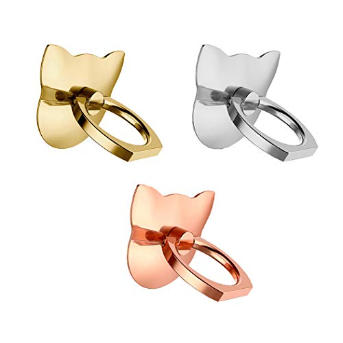 Nurbo 3PCS Cartoon Cat Shape Mirror Surface Phone Finger Ring 360 Degree Rotating Ring Grip Anti Drop Finger Holder for iPhone XS Max X 8 Plus 8 iPad Android Cellphone (Protector Screen Universal Reusable)