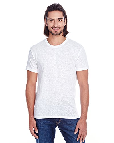 (Threadfast Men's Soho Slub Crew Neck Fashion T-Shirt, White, Medium)