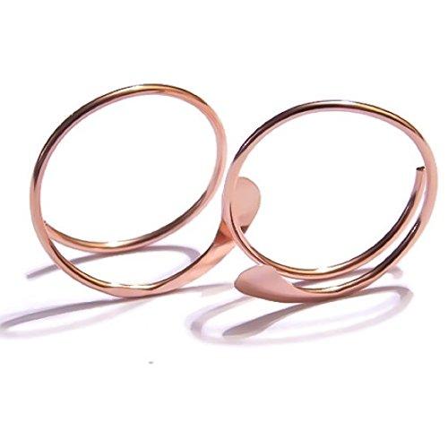 14K Rose Gold Hammered Open Hoop Earrings Small Petite 1/2 Inch Threader Hoops